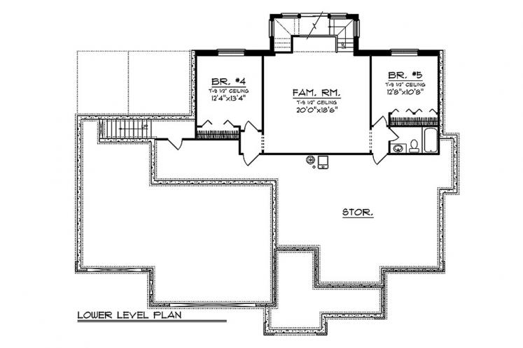 Craftsman House Plan -  14957 - Basement Floor Plan