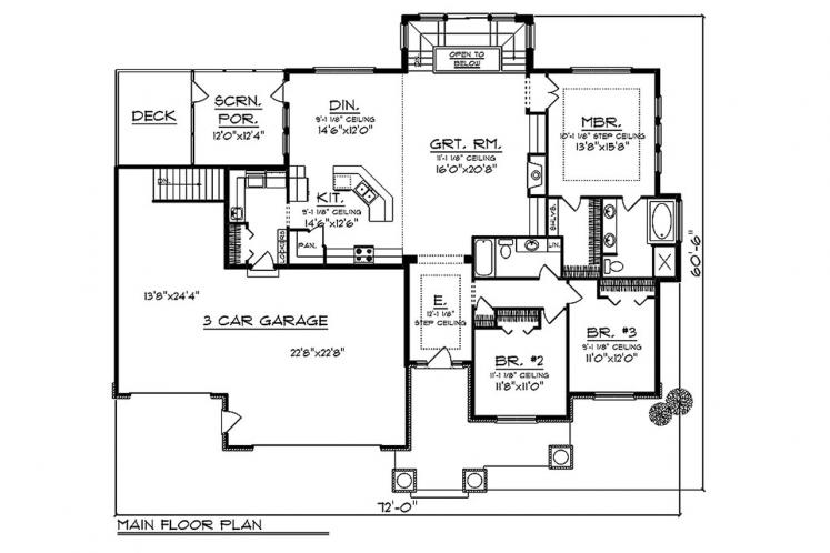Ranch House Plan -  14957 - 1st Floor Plan