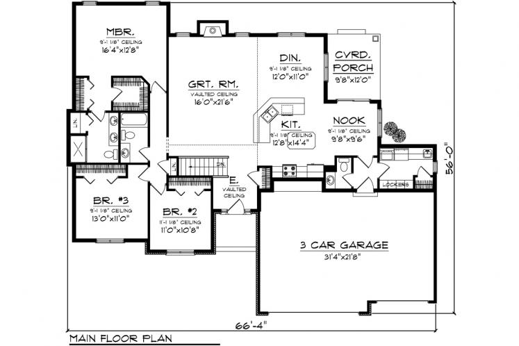 Ranch House Plan -  15093 - 1st Floor Plan