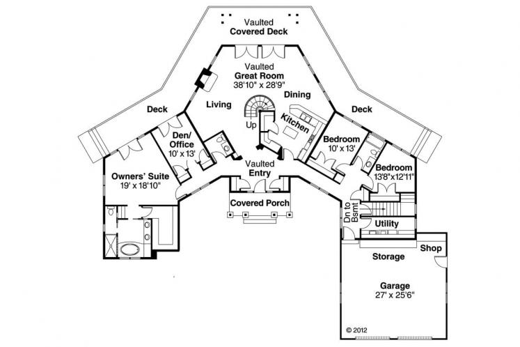 Contemporary House Plan - Heartcrest 15114 - 1st Floor Plan