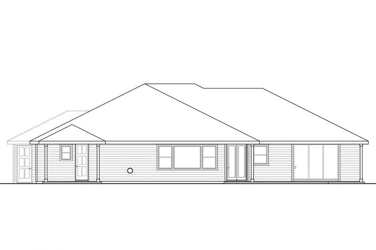 Country House Plan - Cannondale 15377 - Rear Exterior