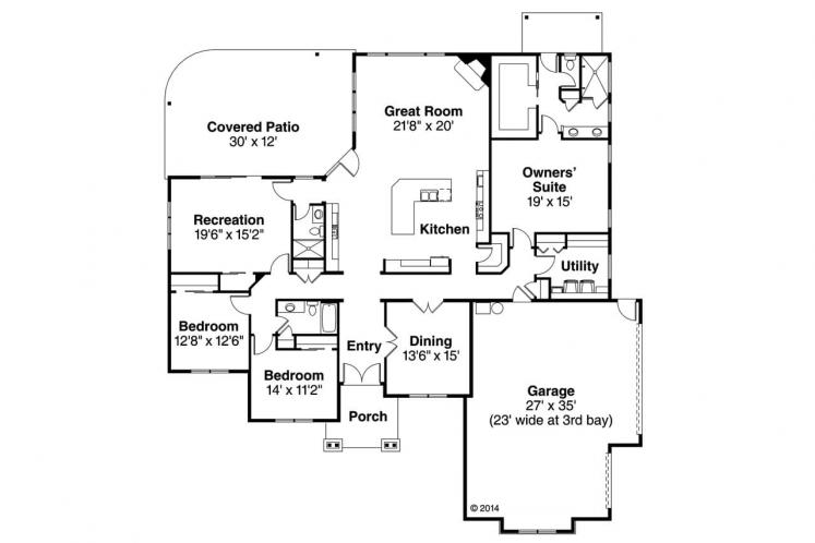 Country House Plan - Cannondale 15377 - 1st Floor Plan