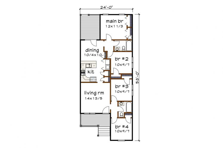 Cottage House Plan -  15420 - 1st Floor Plan