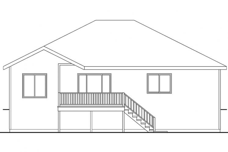 Contemporary House Plan - Olmstead 15558 - Rear Exterior
