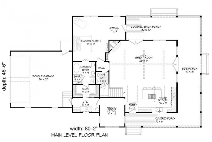 Country House Plan - Patriot Ranch 15630 - 1st Floor Plan