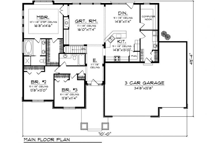 Craftsman House Plan -  15753 - 1st Floor Plan