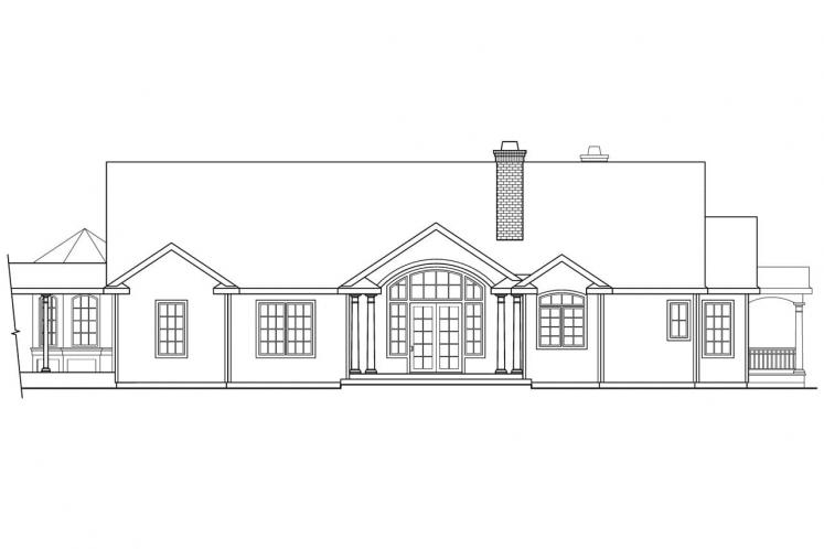 Ranch House Plan - Greenbriar 15760 - Rear Exterior