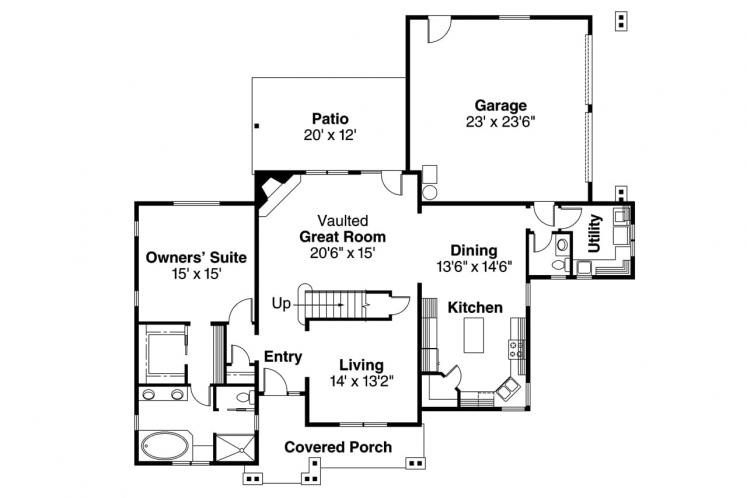 Cottage House Plan - Awbery 15856 - 1st Floor Plan