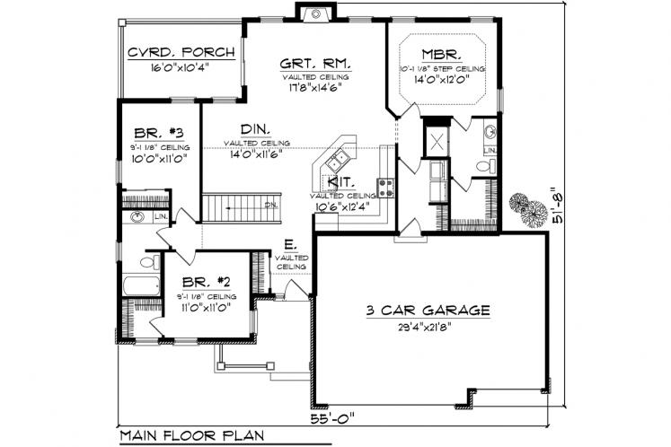 Ranch House Plan -  15906 - 1st Floor Plan