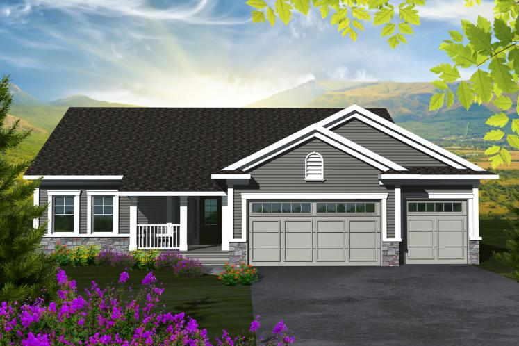 Ranch House Plan -  15906 - Front Exterior