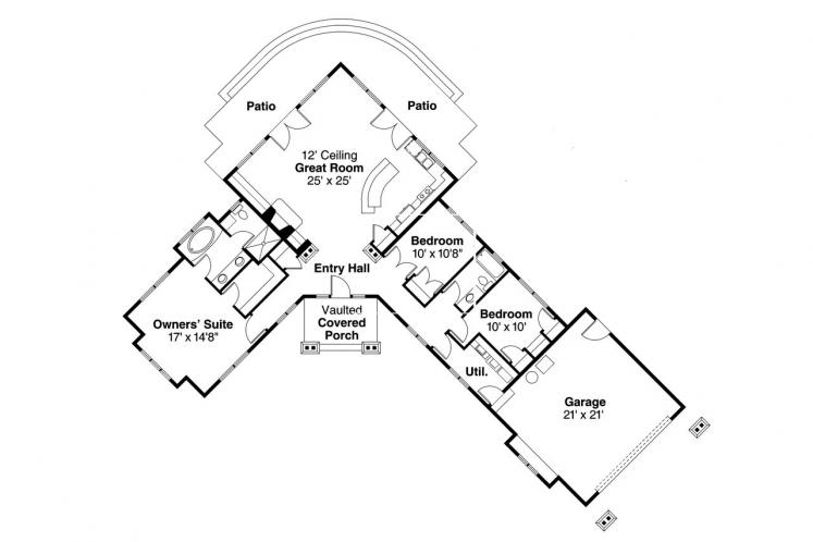 Bungalow House Plan - Heartview 15964 - 1st Floor Plan