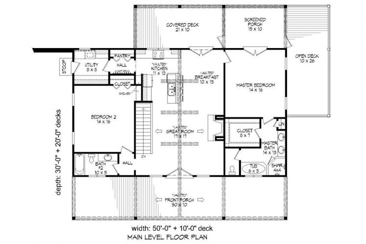 Cottage House Plan -  16266 - 1st Floor Plan