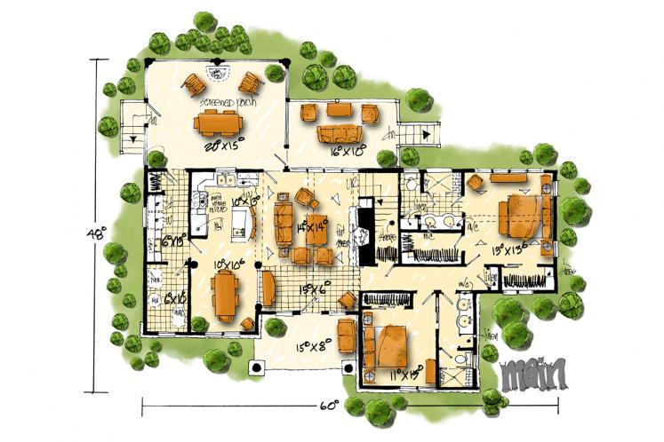Traditional House Plan - Cedar Point 16372 - 1st Floor Plan