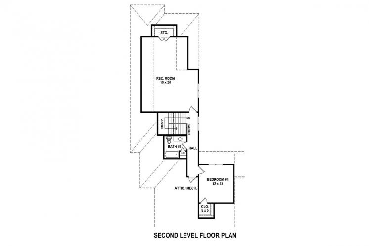 Southern House Plan -  16388 - 2nd Floor Plan