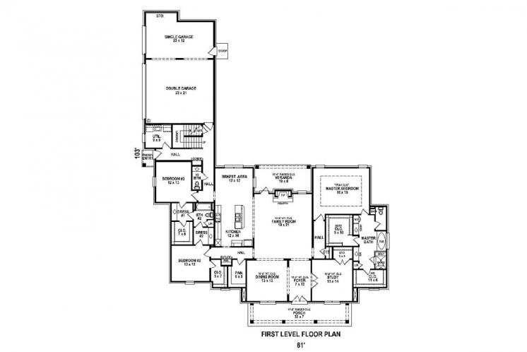 Classic House Plan -  16388 - 1st Floor Plan