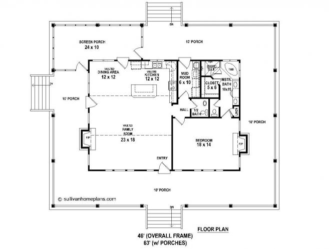 Farmhouse House Plan -  16482 - 1st Floor Plan