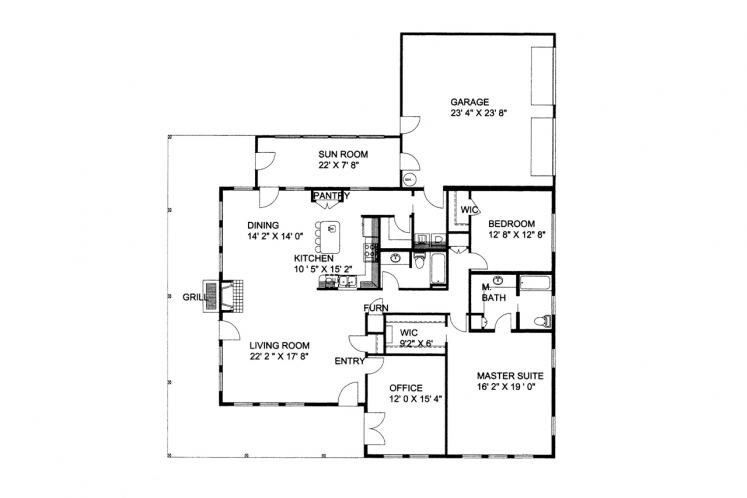 Cottage House Plan -  16767 - 1st Floor Plan