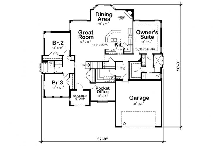 Traditional House Plan - Sinclair Springs 16998 - 1st Floor Plan