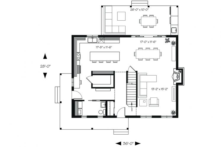 Country House Plan - Beausejour 4 17007 - 1st Floor Plan