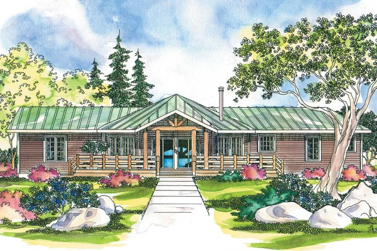 Lodge Style House Plan - Bismarck 17091 - Rear Exterior