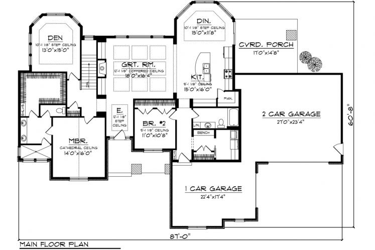 Ranch House Plan -  17103 - 1st Floor Plan