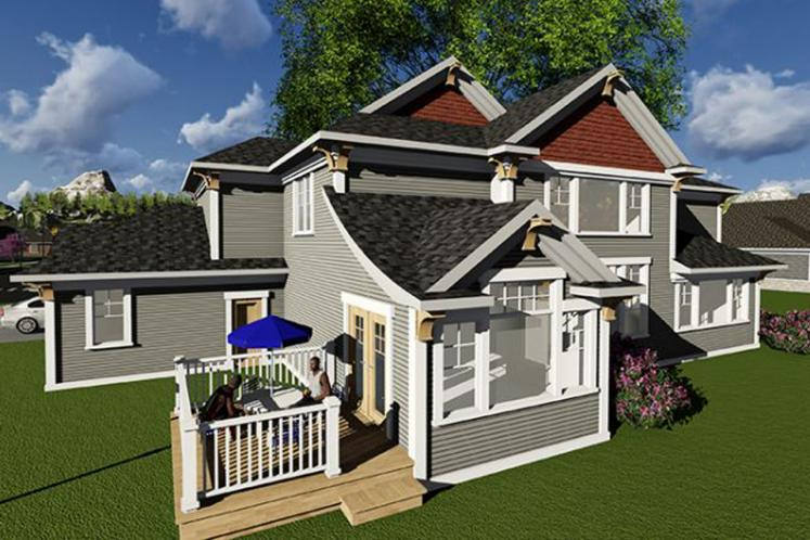 Bungalow House Plan -  17239 - Rear Exterior