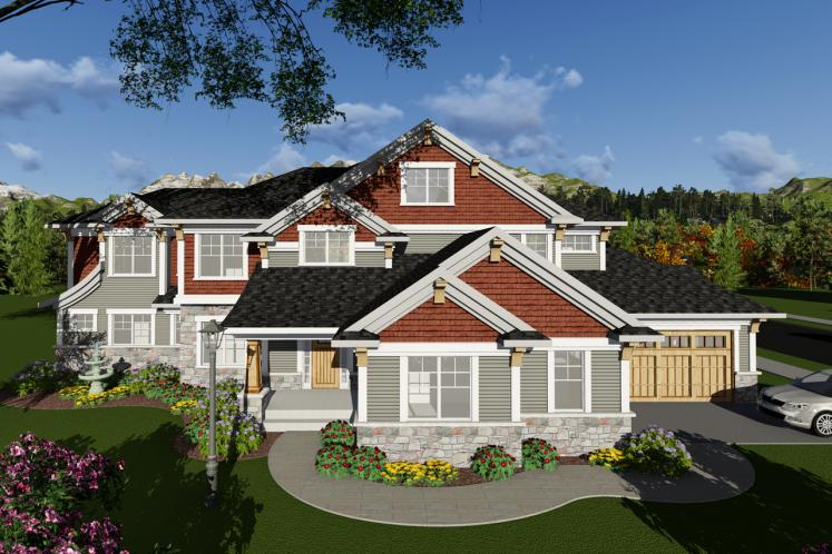 Craftsman House Plan -  17239 - Front Exterior