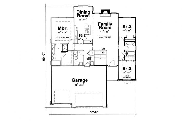 Ranch House Plan - Leftwich 17395 - 1st Floor Plan