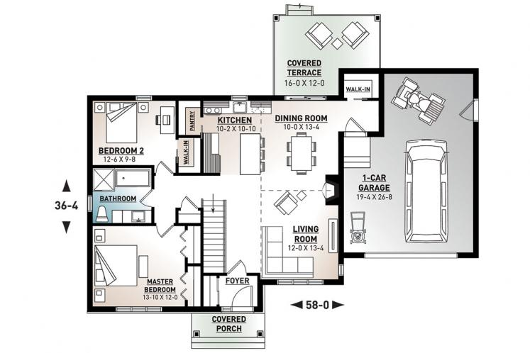 Ranch House Plan - Barrington 2 17436 - 1st Floor Plan