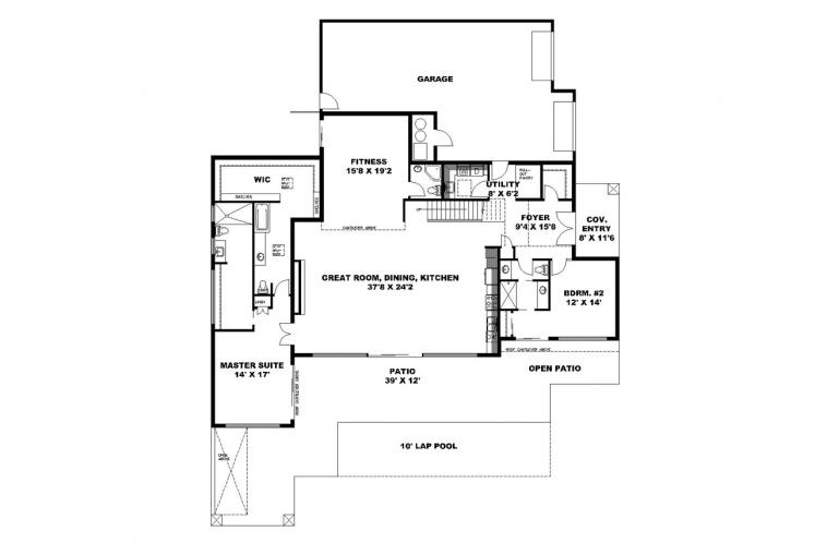 Southwest House Plan -  17671 - 1st Floor Plan