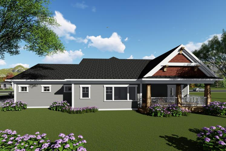 Ranch House Plan -  17702 - Rear Exterior