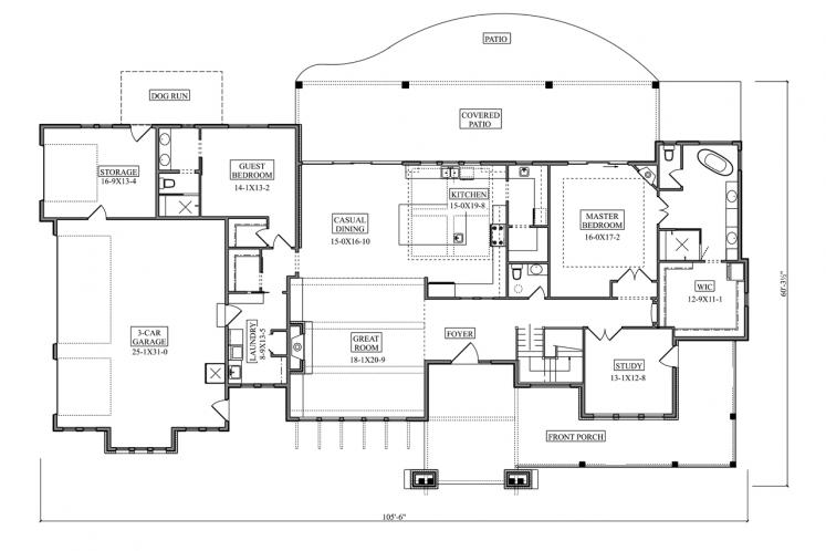 Modern House Plan - Wills Point 17863 - 1st Floor Plan