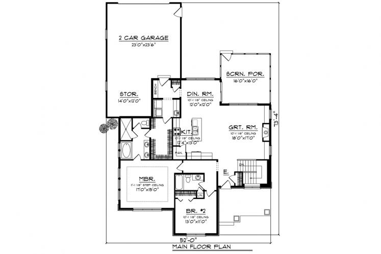 Traditional House Plan -  17908 - 1st Floor Plan