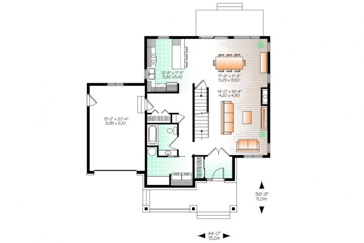 Modern House Plan - Lewiston-Noyo 3 17943 - 1st Floor Plan