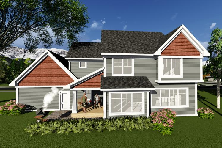 Traditional House Plan -  18035 - Rear Exterior