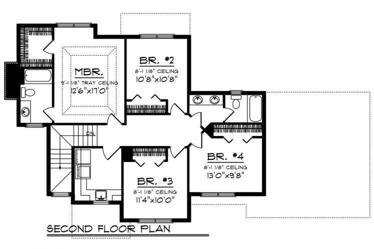 Traditional House Plan -  18035 - 2nd Floor Plan