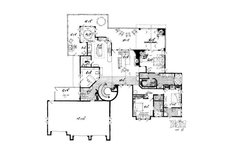 European House Plan - Stonebridge 18043 - 1st Floor Plan