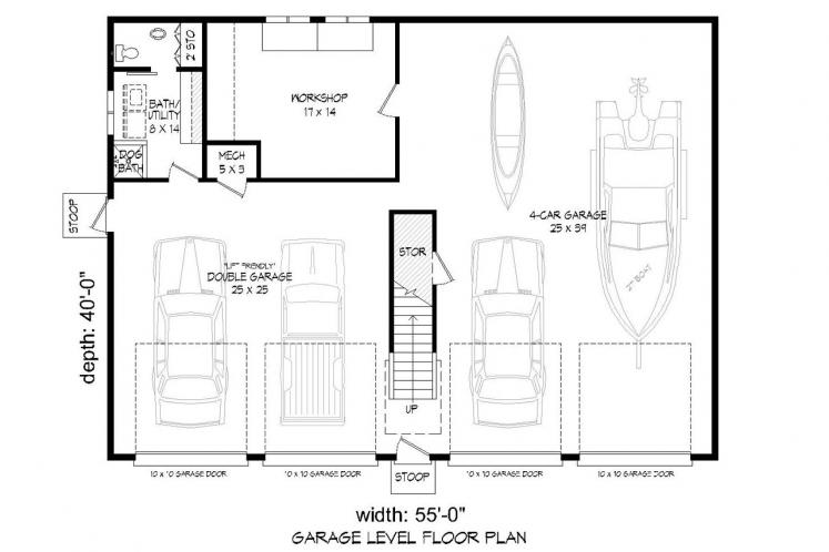 Country Garage Plan - Crescent 18050 - 1st Floor Plan