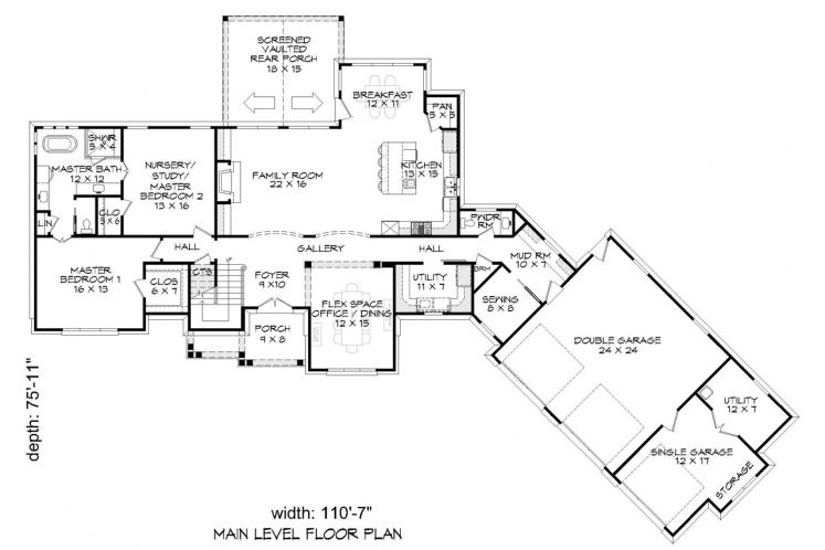 Ranch House Plan - Chadwick 18092 - 1st Floor Plan