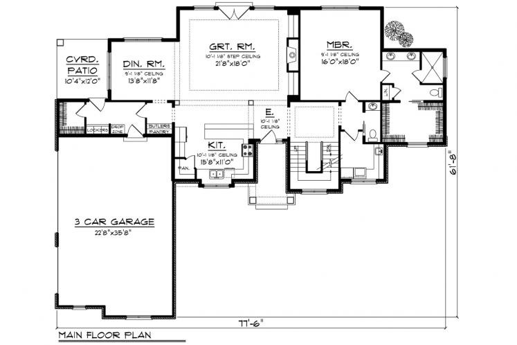 Classic House Plan -  18146 - 1st Floor Plan