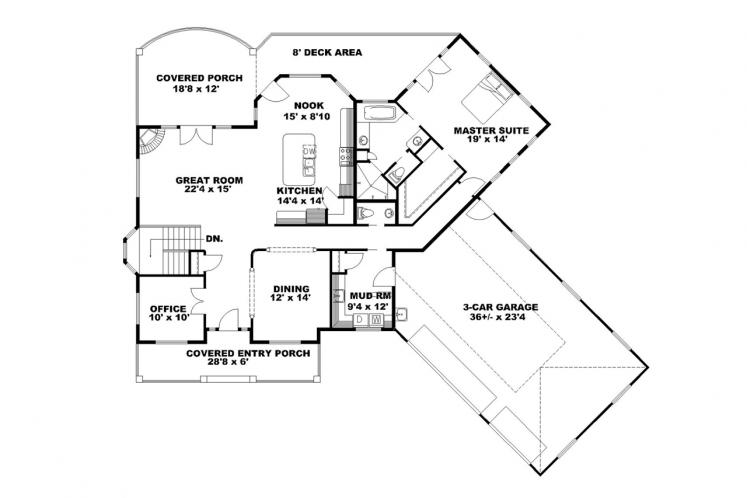 Traditional House Plan -  18265 - 1st Floor Plan