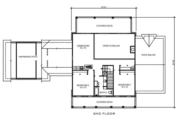 Southern House Plan - Castell 19157 - 2nd Floor Plan