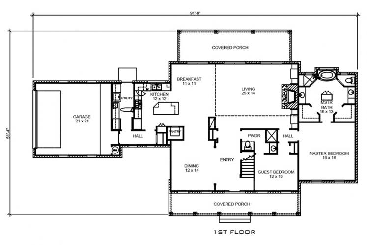 Colonial House Plan - Castell 19157 - 1st Floor Plan
