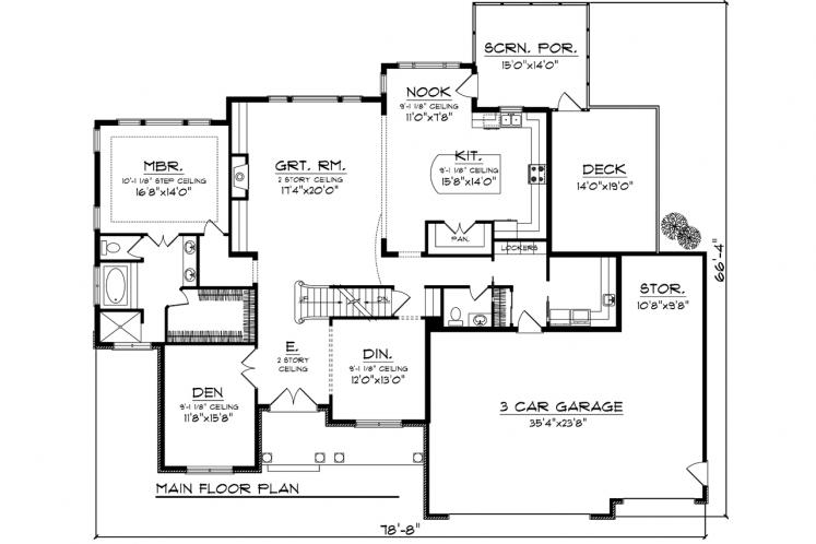 Craftsman House Plan -  19324 - 1st Floor Plan
