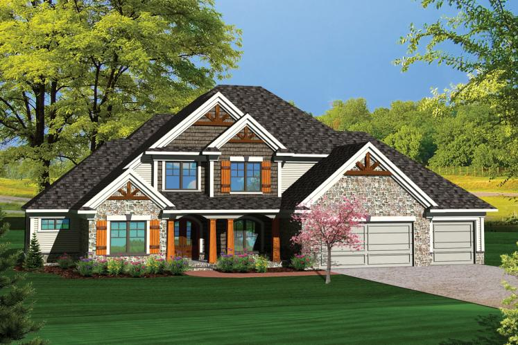 Craftsman House Plan -  19324 - Front Exterior