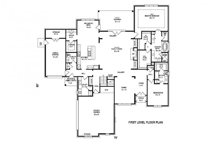 European House Plan -  19359 - 1st Floor Plan