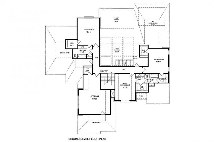 Southern House Plan -  19359 - 2nd Floor Plan
