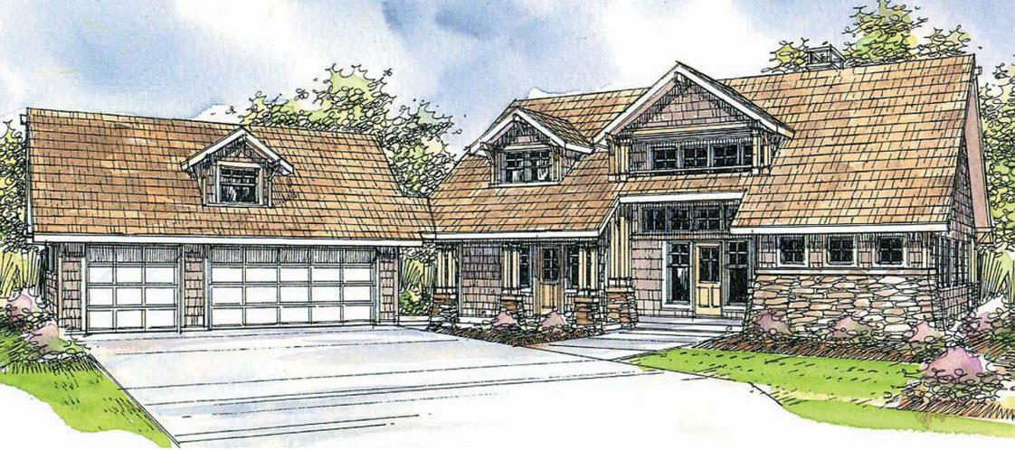 Lodge Style House Plan - Mariposa 19568 - Front Exterior