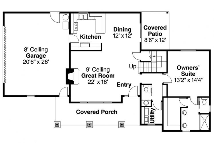 Bungalow House Plan - Rockport 19897 - 1st Floor Plan