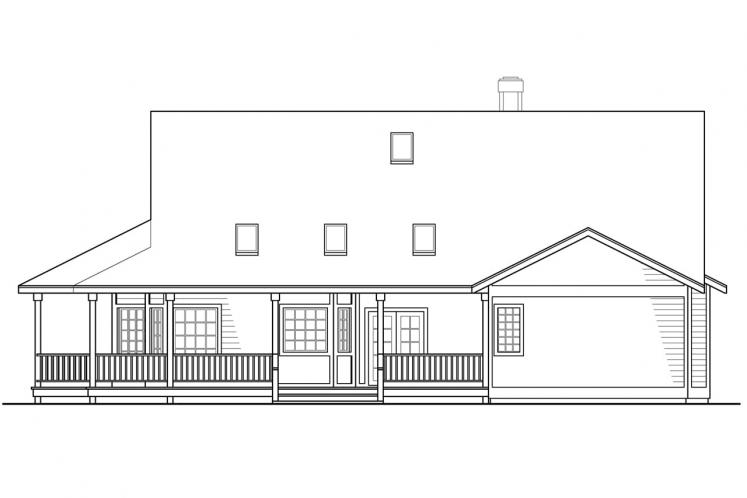 Ranch House Plan - Cortland 20057 - Rear Exterior
